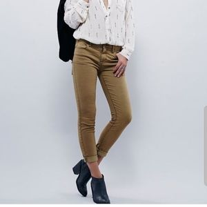 FREE PEOPLE crop ankle stretch faded tan jeans